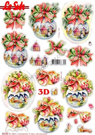 Christmas Baubles With Snow Scenes Die Cut 3d Decoupage Sheet From Le Suh